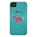 Personalized name unicorn turquoise glitter iPhone 4 Case-Mate cases