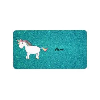 Personalized name unicorn turquoise glitter label