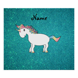 Personalized name unicorn turquoise glitter poster