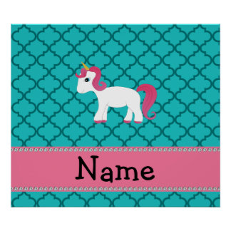 Personalized name unicorn turquoise moroccan poster