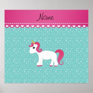 Personalized name unicorn turquoise stars print