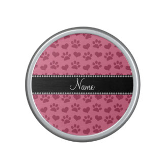 Personalized name watermelon pink hearts and paws bluetooth speaker