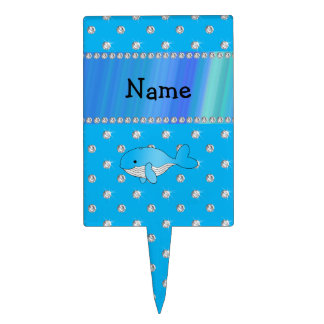 Personalized name whale blue diamonds cake toppers