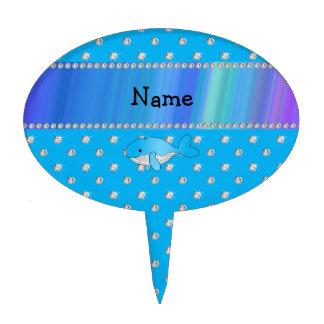 Personalized name whale blue diamonds cake pick
