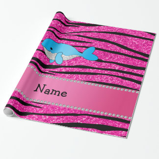 Personalized name whale pink zebra stripes wrapping paper