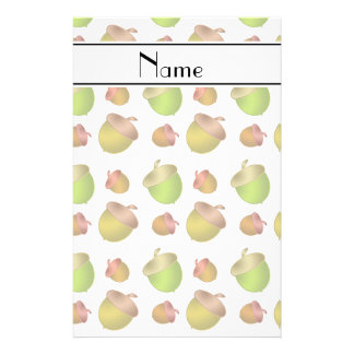 Personalized name white acorns stationery