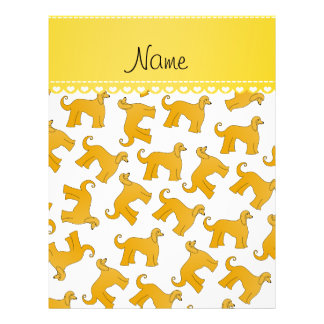 Personalized name white afghan hound dogs 21.5 cm x 28 cm flyer