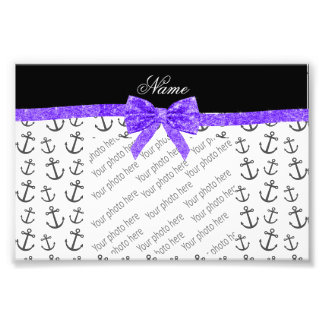 Personalized name white anchors purple glitter bow photographic print