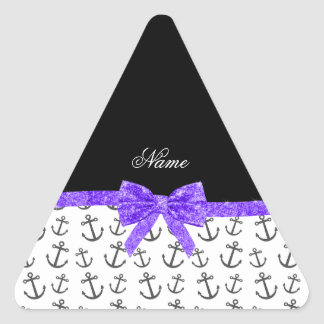 Personalized name white anchors purple glitter bow triangle stickers
