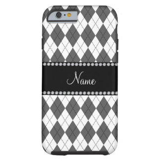 Personalized name White and grey argyle pattern Tough iPhone 6 Case