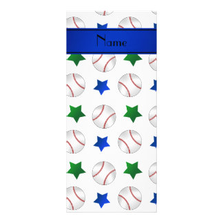 Personalized name white baseball blue green stars rack card template