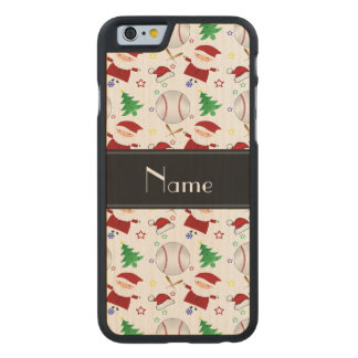 Personalized name white baseball christmas carved® maple iPhone 6 case