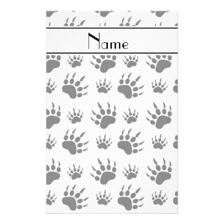 Personalized name white bear paw prints stationery design