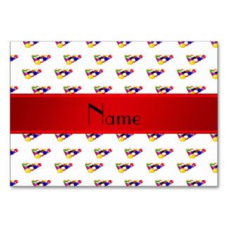 Personalized name white billiard balls red stripe table cards
