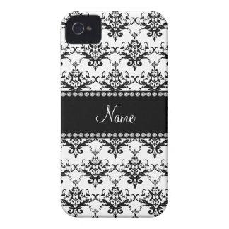 Personalized name White black damask Case-Mate iPhone 4 Case
