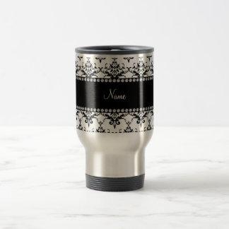 Personalized name White black damask Coffee Mugs