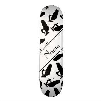 Personalized name white black windsurfing skate deck