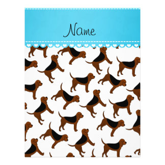 Personalized name white bloodhound dogs 21.5 cm x 28 cm flyer