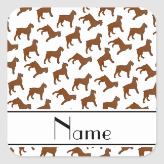 Personalized name white Bouvier des Flandres dogs Square Sticker