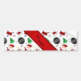 Personalized name white bowling christmas pattern bumper sticker