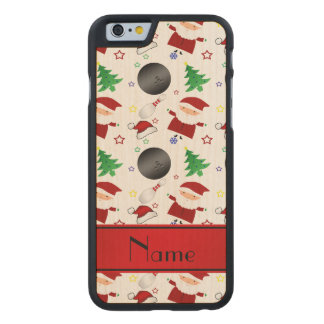 Personalized name white bowling christmas pattern carved® maple iPhone 6 slim case