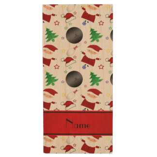 Personalized name white bowling christmas pattern wood USB 2.0 flash drive