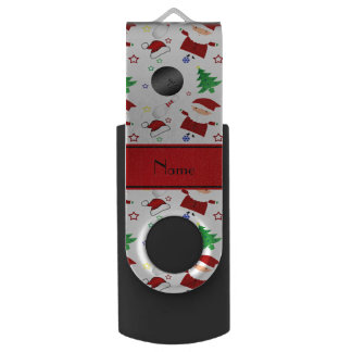 Personalized name white bowling christmas pattern swivel USB 2.0 flash drive