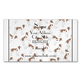 Personalized name white brittany spaniel dogs magnetic business cards