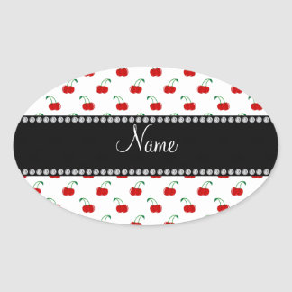 Personalized name white cherry pattern oval sticker