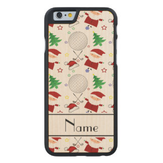 Personalized name white christmas golfing carved® maple iPhone 6 case
