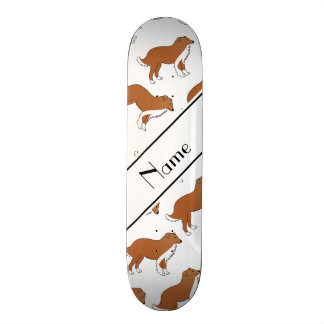 Personalized name white collie dog pattern skate boards