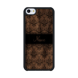 Personalized name White damask Carved® Walnut iPhone 5C Case