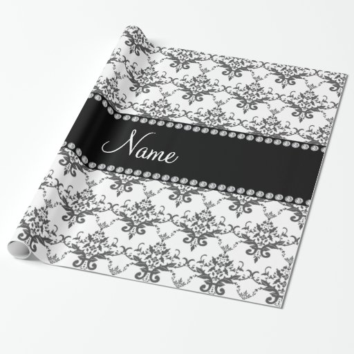 Personalized name White damask Gift Wrapping Paper