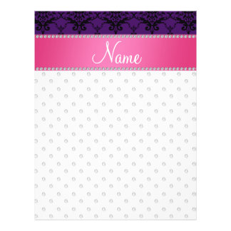 Personalized name white diamond purple damask personalized flyer