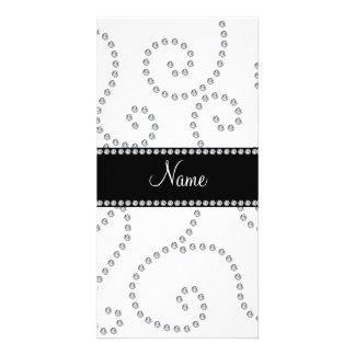 Personalized name white diamond swirls photo card