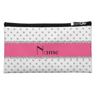Personalized name white diamonds pink stripe cosmetic bag