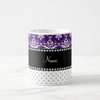 Personalized name white diamonds purple damask mug