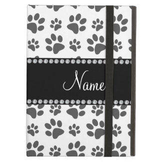 Personalized name white dog paw print iPad air cover
