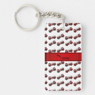 Personalized name white firetrucks red stripe rectangular acrylic key chain