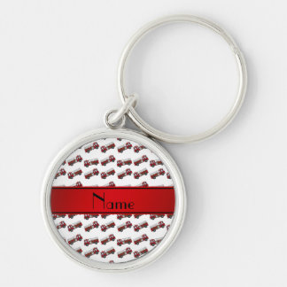 Personalized name white firetrucks red stripe key chain