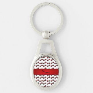 Personalized name white firetrucks red stripe keychain
