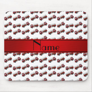 Personalized name white firetrucks red stripe mousepads