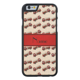 Personalized name white firetrucks red stripe carved® maple iPhone 6 case