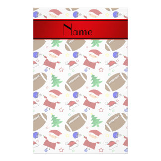 Personalized name white football christmas stationery paper