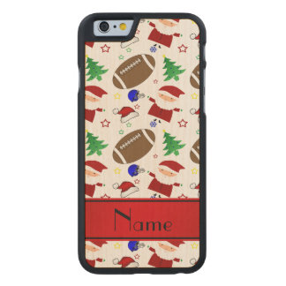 Personalized name white football christmas carved® maple iPhone 6 slim case