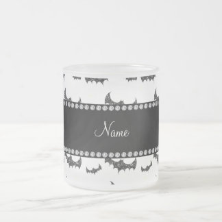 Personalized name white glitter bats frosted glass coffee mug