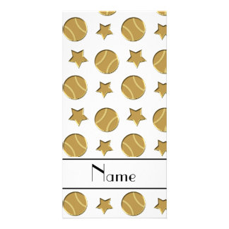 Personalized name white gold baseballs stars personalized photo card