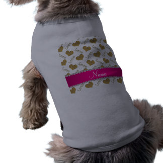 Personalized name white gold hearts mom love sleeveless dog shirt