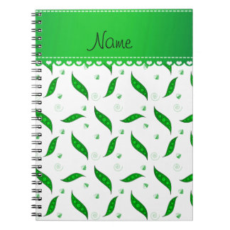 Personalized name white green peapods notebooks