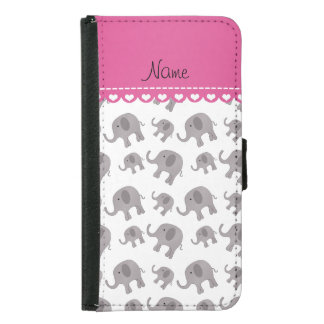 Personalized name white grey elephants samsung galaxy s5 wallet case